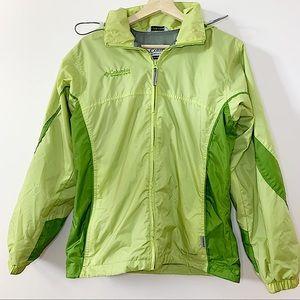 COLUMBIA   2 tone green wind breaker/rain  jacket